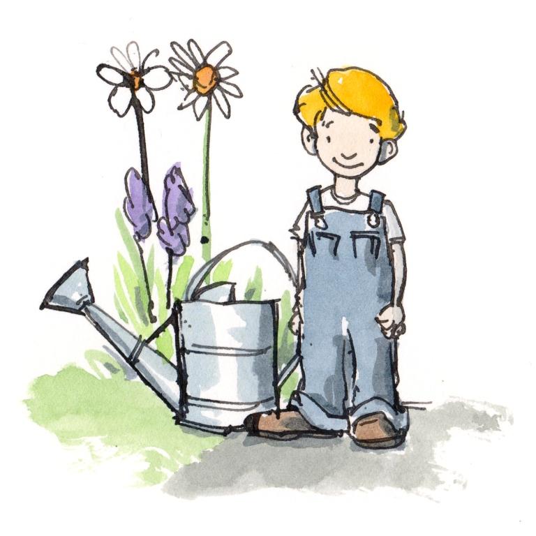 children gardening four
